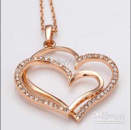 Banhado a ouro rosa 18K tcheco diamante coração pingente de colar de moda Top jóias frete grátis 10 pcs