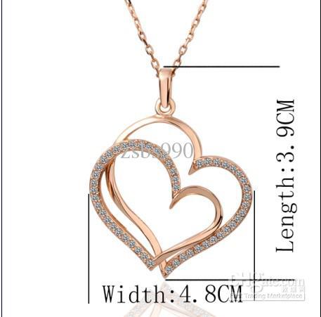 Pläterad 18k Rose Gold Czech Diamond Heart Pendant Halsband Fashion Top Smycken Gratis frakt 10st