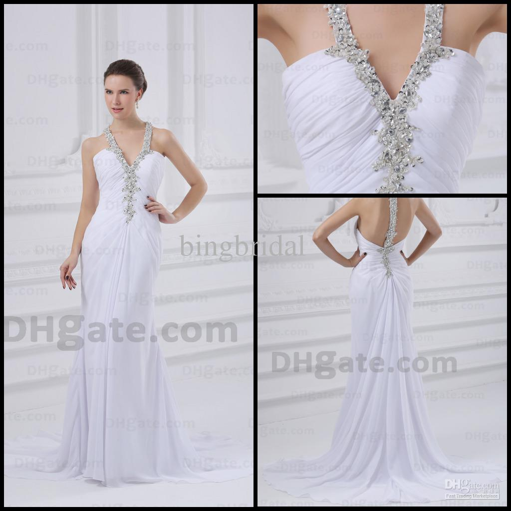 White Wedding Dresses Sheath Halter Top Ruched Chiffon