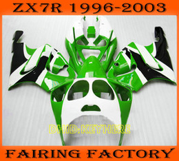 Wholesale Custom Fairings For Zx7r - Green white custom fairing for KAWASAKI Ninja ZX7R 1996-2003 ZX 7R 96 97 98 99 00 01 02 03 fairings