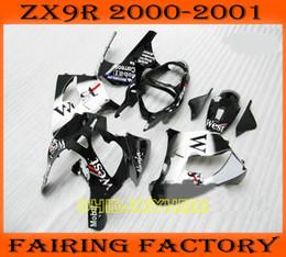 Пользовательские zx9r обтекатели онлайн-Белый западный изготовленный на заказ обтекатель для KAWASAKI Ninja ZX9R 2000 2001 ZX 9R 01 00 moto aftermarket обтекатели