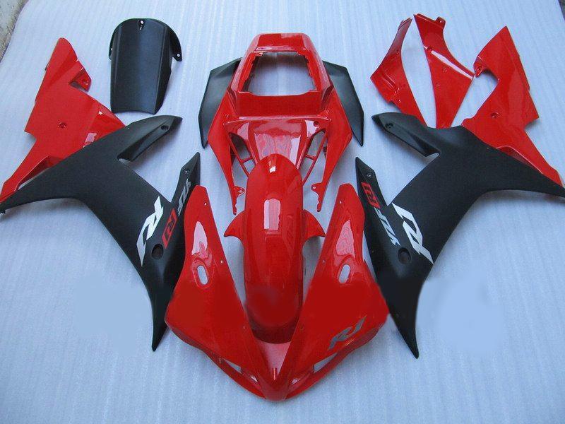 Röd / Blk Motorcykel Custom Race Fairings för YZFR1 02 03 YAMAHA YZF R1 2002 2003 Eftermarknadsfeoking