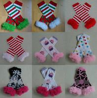 Wholesale Movie Leg - Fuschia Zebra Lace Ruffle Leg Warmers Santa Baby Christmas Gift Rainbow legwarmer Baby Lace legs 79 C