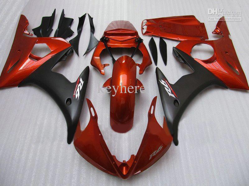 YZFR6 03 04 05 YAMAHA YZF R6 2003 2004 2005 YZF600 무료 선물 오렌지 / 블랙 ABS 오토바이 페어링