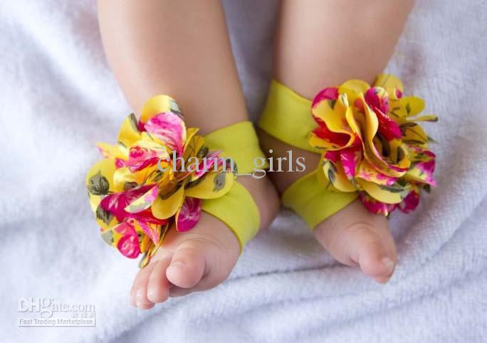20ペア= 40ピーストップベビースリッパベイビー裸足サンダル足の花の女の子の花の靴