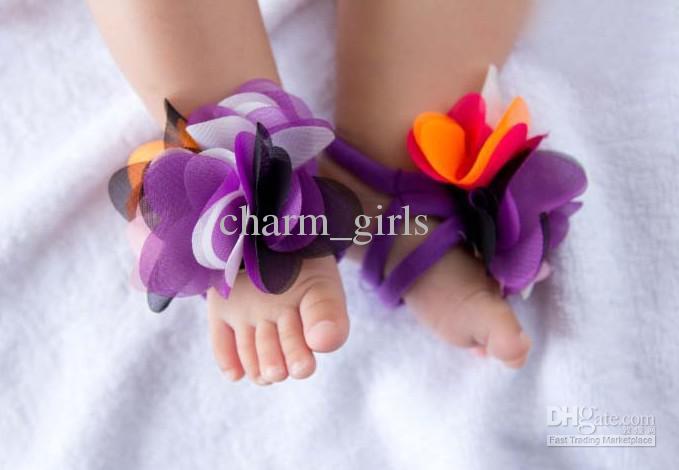 10 paires = 20pcs haut bébé fleur de pied sandales bébé / sandales aux pieds nus / chaussures bébé / chaussures pour tout-petits