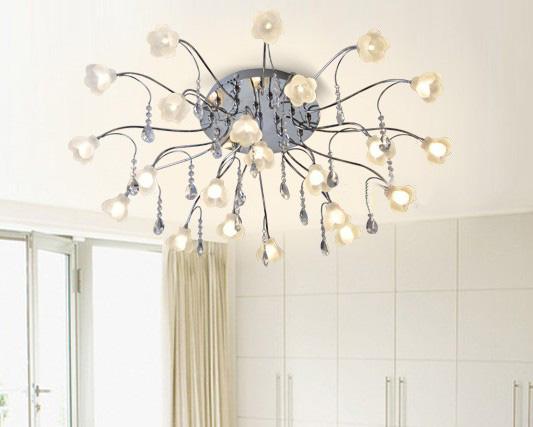Modern European K9 Crystal Flowers Living Room Ceiling Lamp ...