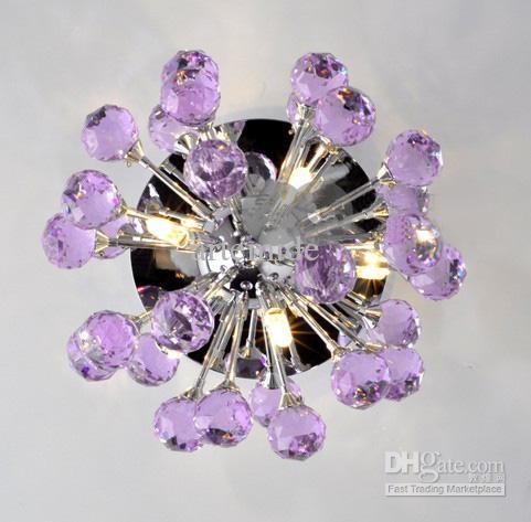 Modern Blue Purple Transparent K9 Crystal Ceiling Lamp Crystal ...
