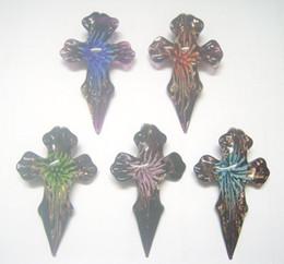 Wholesale Cross Murano Necklace - Free Shipping 10pcs lot Multicolor Cross Murano Lampwork Glass Pendants Fit DIY Craft Jewelry Pendant PG15*