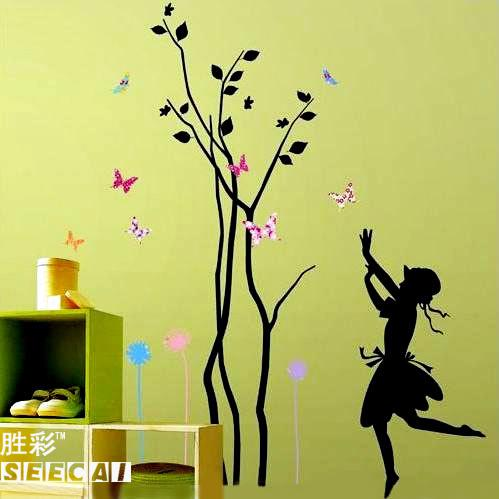 Wall stickers trees girl   butterfly bedroom   dining   living room   TV  background   wall   sticker. Wall Stickers Trees Girl   Butterfly Bedroom   Dining   Living