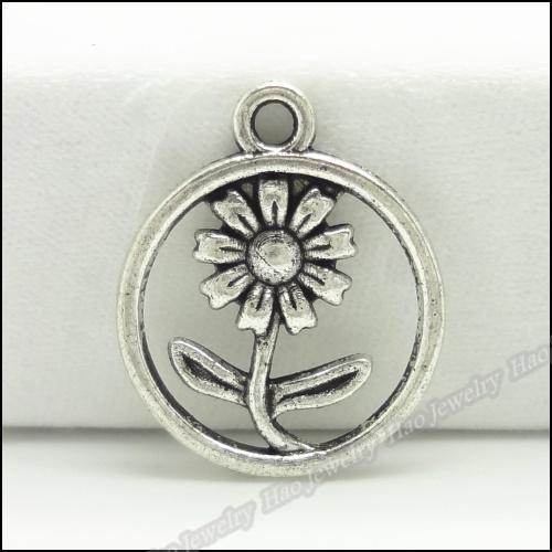 Charms antico placcato del fiore della lega d'argento del pendente della collana del braccialetto 150pcs Gioielli fai da te / lot
