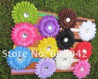 "Wholesale Gerber Baby Headbands - 48pcs lot, baby Elastic Headband,soft stetch headband with 4""Gerber Daisy flower"