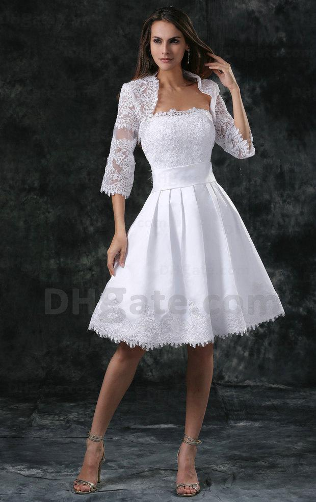 Wholesale! High Quality Lace Fabric Short Beaded Wedding Dress 2015 Bridal Gown With Jacket WD063