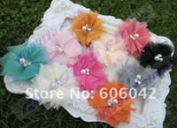 Wholesale Tulle Flower Rhinestone Center - 70pcs lot 2.5inches Mini Tulle Mesh Flowers With Rhinestone Pearl Center Poof Flowers