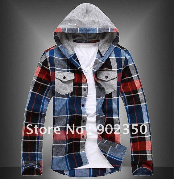 2017 Casual Hooded Shirts Men Long Sleeve Fashion Plaid Contrast ...