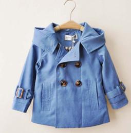 Wholesale baby double breasted coats - Boys Christmas Trench Coats Children Double-Breasted Hooded Jackets Baby Clothing