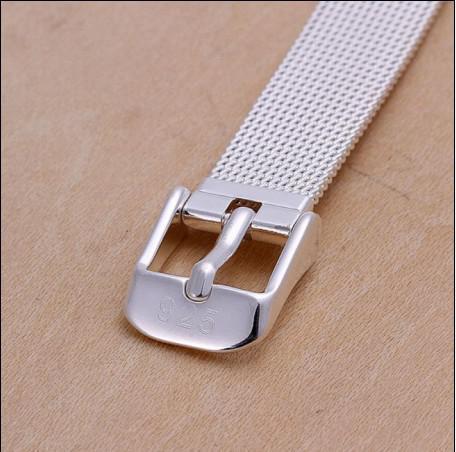 Alta calidad 14 MM 8 pulgadas 925 brazaletes correa de plata pulsera de la manera envío gratis 10 unids / lote