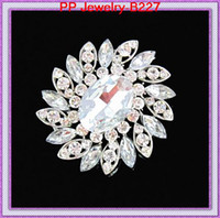 Luxo Big Glass Crystals Elegante Brooch Silver Tone Alloy Cheap Wholesale Women Hijab Pins Broches de Presentes de Amizade