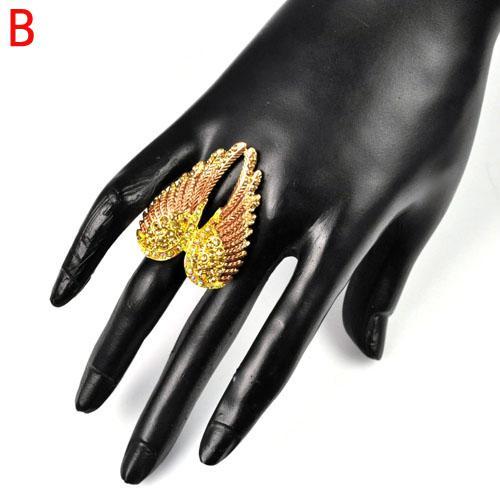 핫 스톤, 탄성 크기 보석 날개 반지, RN-618과 여성을위한 좋은 디자인의 여성 보석 천사 날개 반지 반지를 판매