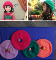 Wholesale Wholesale Baby Beret - Children Beret Beanie Hat Caps Kids Winter Cap Skull Cap Baby Girls Caps Baby Crochet Knit Hat Girls