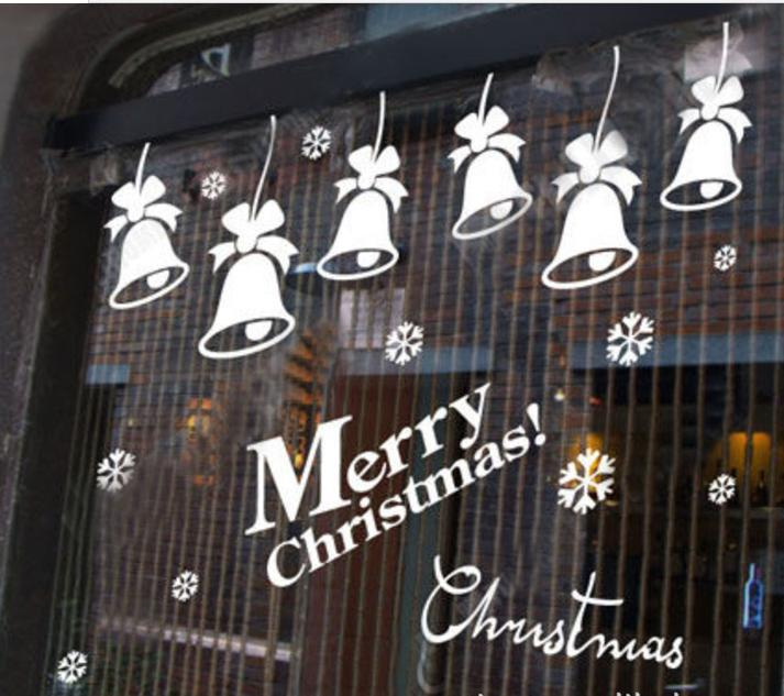 merry christmas bells christmas decorations wall stick color
