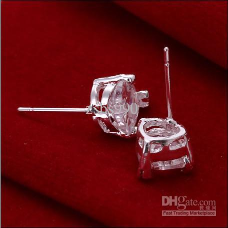 Alta qualidade 925 prata checa diamante coração brincos moda jóias frete grátis 10 par / lote