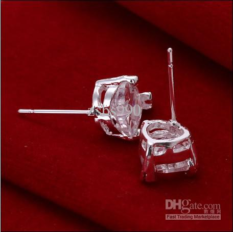 Hohe Qualität 925 silberne tschechische Diamantherzbolzenohrring-Art und Weiseschmucksachen geben Verschiffen 10pair / lot frei