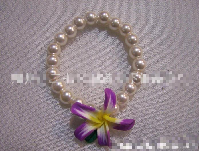 Novos estilo polímero cor misturada jóias argila uma linha pulseira flor da argila do polímero pulseira de pérolas