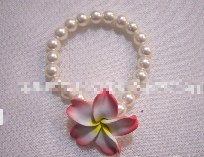 nuevo estilo de polímero color mezclado joyería de la arcilla una fila de pulsera de flores de arcilla de polímero pulsera de perlas