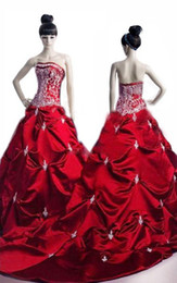 Wholesale Photo Win - Custom Made Ball Gown Strapless Win Red Satin With Row Flower Wedding Dresses   Romanticweddinggown