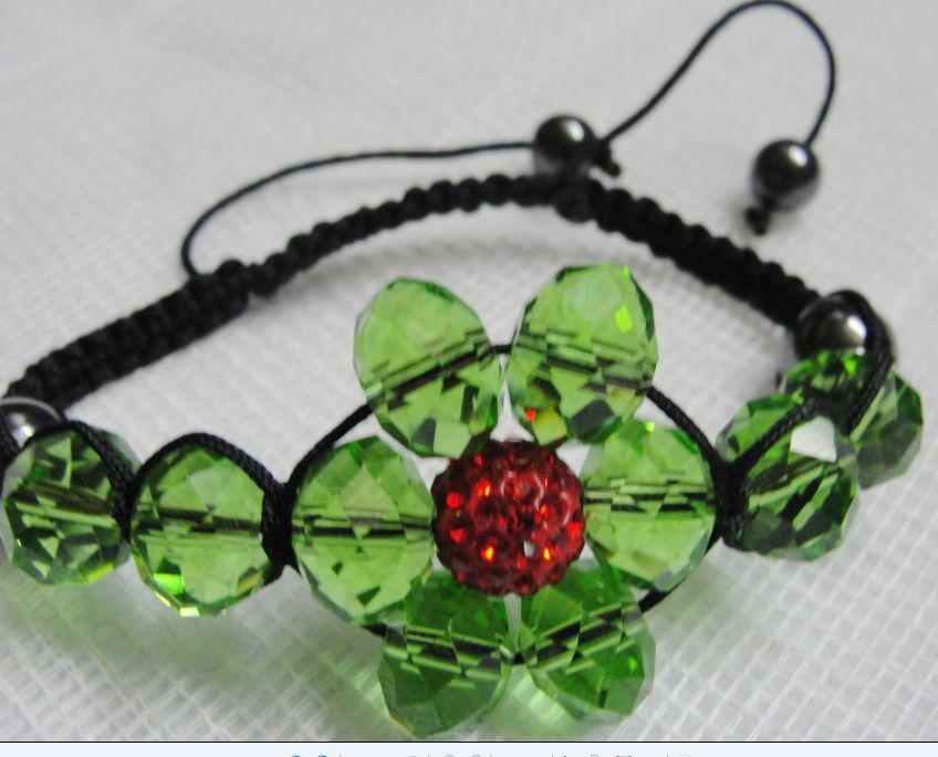 1 # -21 # cor escolha 30 pcs * 10mm Disco Beads + 12mm contas de cristal flor pulseira