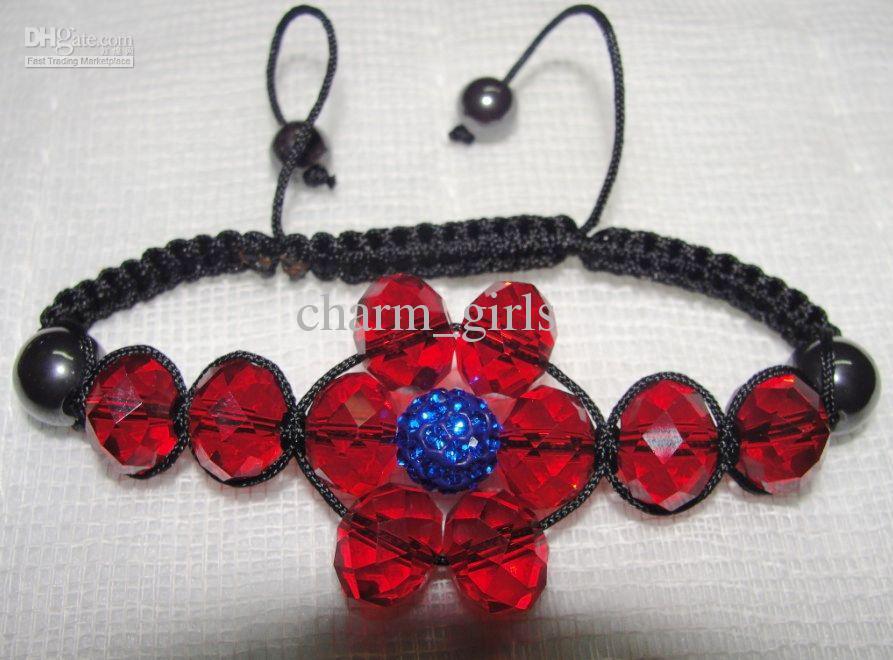 1 # -21 # Farbwahl 30pcs * 10mm Disco-Korne + 12mm Kristall bördelt Blumen-Armband