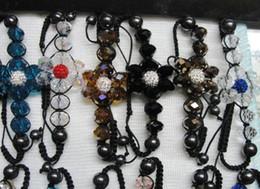 Braccialetto fiore da discoteca online-1 # -21 # Scelta di colore 30pcs * Branelli della discoteca di 10mm + braccialetto di cristallo dei branelli di cristallo di 12mm