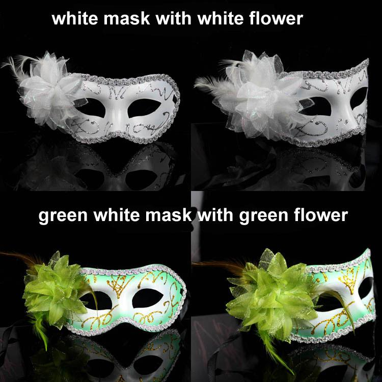 Luxury Masquerade Masks Women Sexy Halloween Venetian mask with flower feather mask dance party Costume EMS