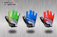 Wholesale Handcrew Bike Gloves - New HANDCREW Cycling Gloves Bike Bicycle Half Finger Gloves red blue green M-XL