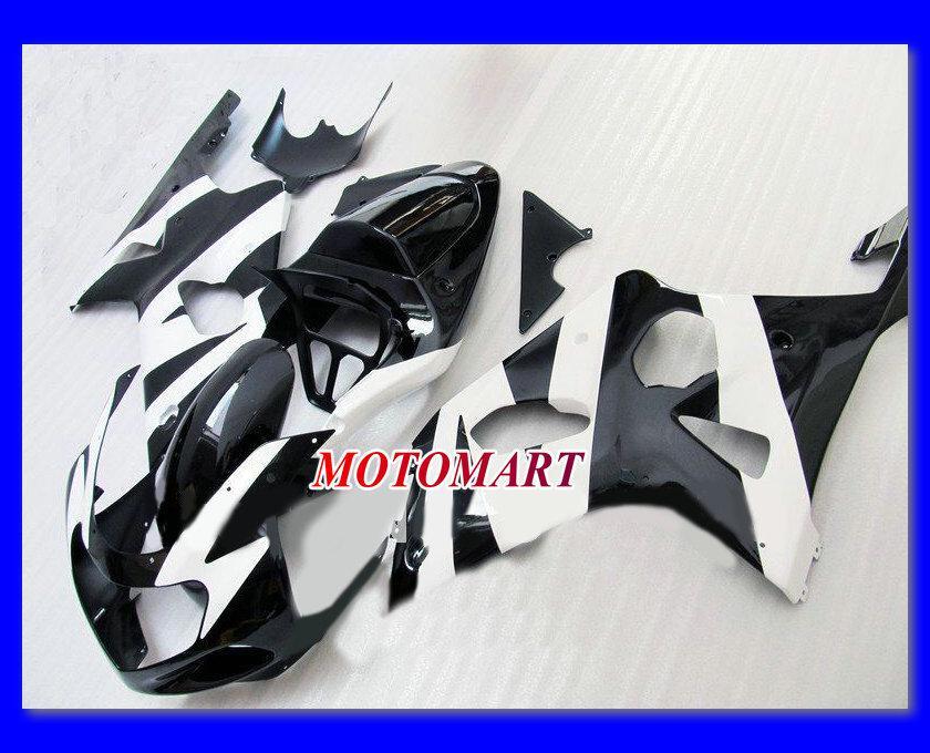 Gloss Black White Fairing Kit för Suzuki GSXR1000 00 01 02 GSXR 1000 2000 2001 2002 K2 GSX R1000 Fairing Parts + 7Gifts