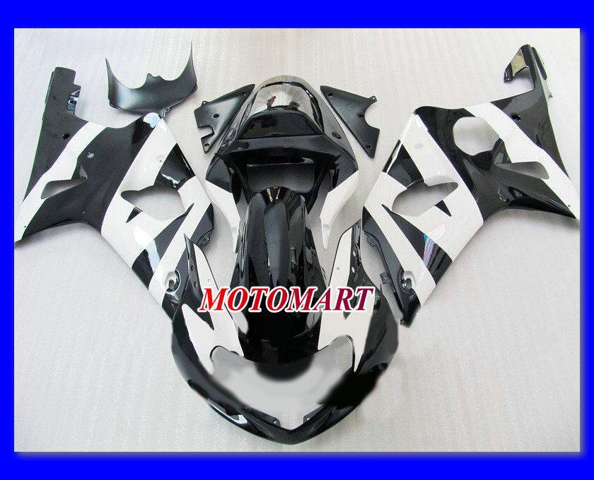 スズキGSXR1000 00 01 02 GSXR 1000 2000 2001 2002 K2 GSX R1000フェアリング部品+ 7ギフト用グロスブラックホワイトフェアリングキット