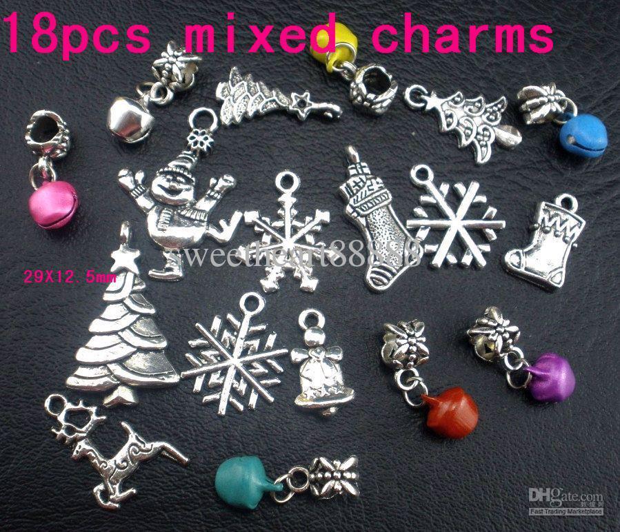 Mic 108 stks Tibetan Zilver Schattig Kerstboom Sneeuwvlok Bellaarzen Voorraad Sneeuwman Elanden Charme Hanger 103004