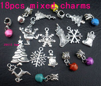 Wholesale Cutest Christmas Tree - MIC 108pcs Tibetan Silver Cute Christmas Tree Snowflake Bell Boots Stock Snowman Elk Charm Pendant 103004