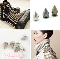 Wholesale bullets accessories - 9 mm Dull Silver Metal Bullet Stud Rivet Spikes Leather craft Accessories Metals Jewelry