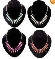 Wholesale Rivet Pendant Necklace - Spike Rivet Choker Bib Necklace 1pc New Christmas Gift Crystal Square Resin Stone Gem
