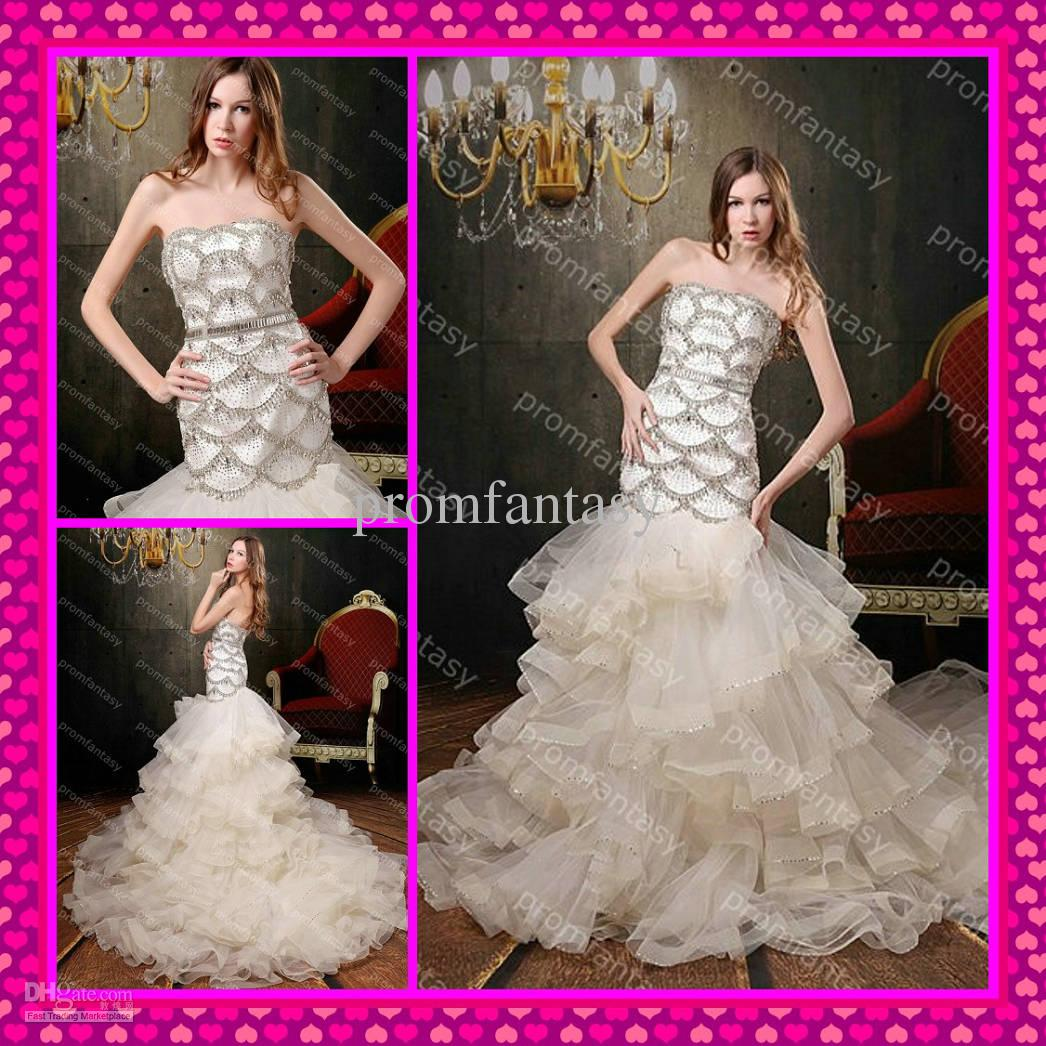 2013 fall luxury bling bling beads sequins crystals cheap ruffle 2013 fall luxury bling bling beads sequins crystals cheap ruffle tulle mermaid beach wedding dresses wedding dresses wholesale ball gowns wedding dresses ombrellifo Gallery