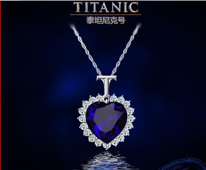 Wholesale Fashion Jewelry Big Titanic Memory Necklace Blue