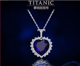 Wholesale Silver Blue Diamond Heart Necklace - Fashion jewelry Big Titanic Memory Necklace Blue Diamond  Heart of Ocean T shape Anniversary Edition