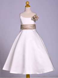 Wholesale Tea Length Actual Image - white ivory bateau satin with champagne ribbon and bow tea-length flower girl dress 0-13 years