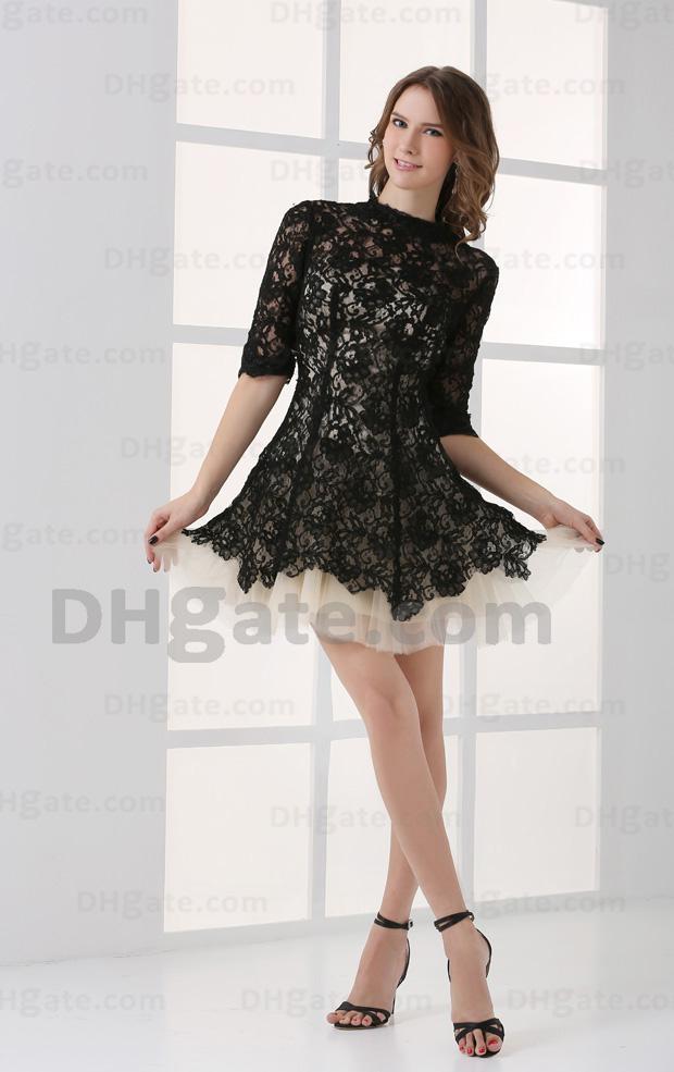 Hohe Qualität Spitze Half Ärmeln Mini Party Prom Celebrity Kleid 2021 Klatsch Mädchen Schwarze Spitze mit Nackt CBD001
