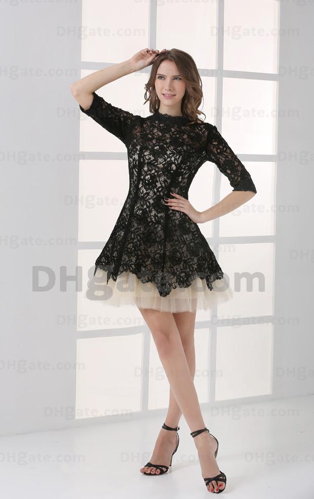 Vestido de celebridad Mini fiesta de encaje de alta calidad Mini Party Party 2021 Gossip Girl Black Lace con Nude CBD001