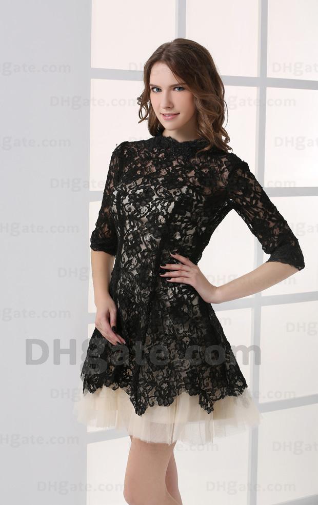 Hoge Kwaliteit Kant Half Mouwen Mini Party Prom Celebrity Jurk 2021 Gossip Girl Black Lace met Naakt CBD001