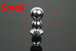 Wholesale Stainless Steel Double Butt Plug - double balls S & L size stainless steel butt plug anal bullet adult toys Sex Games