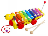 Wholesale Toy Harmonicas - child musical instrument toy small trailer steel glass harmonica wooden knock piano for 1 - 5 years